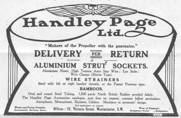 Advert for Hadley Page