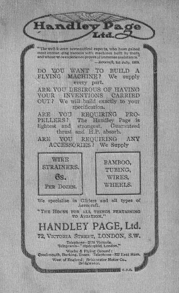 Advert for Handley Page