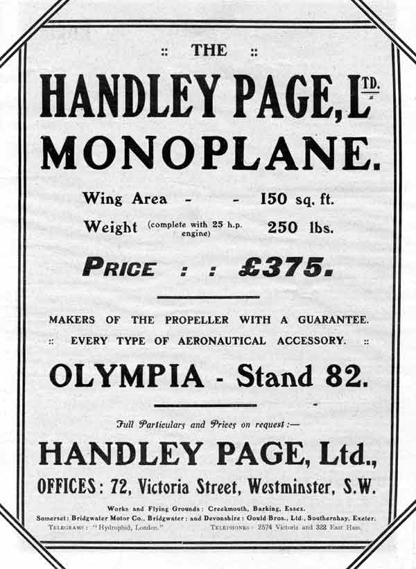 Advert for The Handley Page Bluebird from Flight 19th March 1910